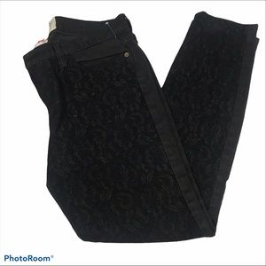 Current/Elliott The Ankle Skinny Black Lace Jeans